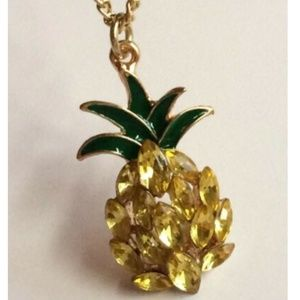 "Jewelry - Gold Crystal Pineapple Necklace Pendant 20"" Island"